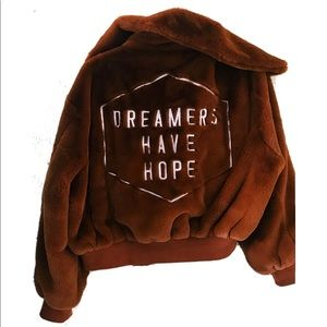NEW Honorable Citizens brown bomber faux fur coat